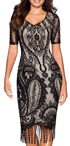 HOMEYEE Women's Vintage Floral Short Sleeve Cocktail Lace Fringing Party Dress B337
