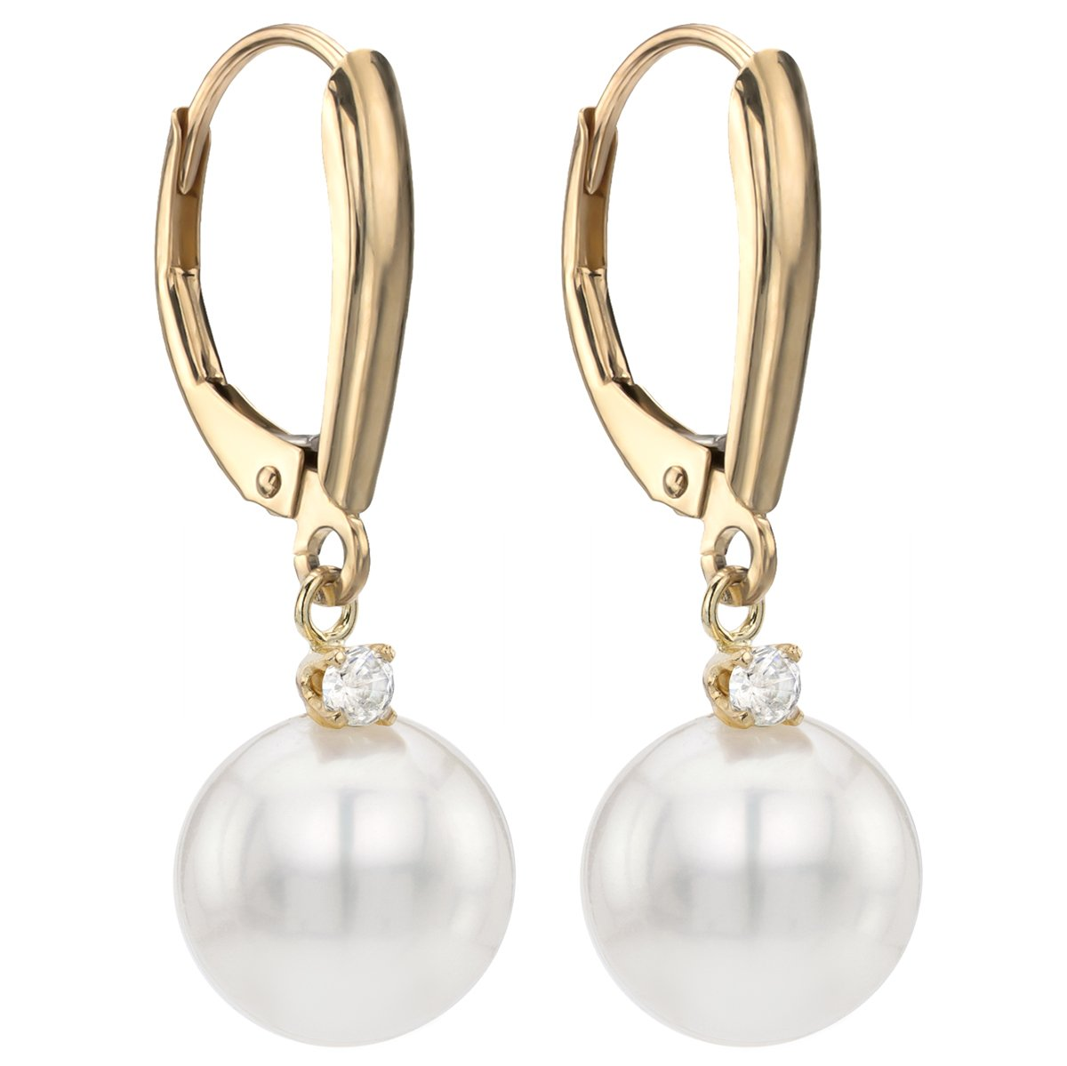 14k Yellow Gold 1/10cttw diamond 9-9.5mm White Round Freshwater Cultured Pearl Lever-back Earrings by La Regis Jewelry (Image #2)