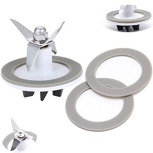Stainless Steel SPB-456-2 White Blender Cutting with 3 Rubber Sealing Gasket Seal O-ring Assembly, Fit for Cuisinart Blenders BFP-703/BFP-10/SPB-7/BFP703B/BFP-703CH/SPB7/SPB-7BK/CB8/CB9/BFP-703