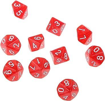 10pcs Juegos de Mesa Dados de Diez Caras 0~9 D & D TRPG - Rojo: Amazon.es: Juguetes y juegos
