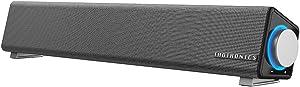TaoTronics Computer Speakers, Wired Computer Sound Bar, Stereo USB Powered Mini Soundbar Speaker for PC Tablets Desktop Cellphone Laptop(Upgrade), Black (TT-SK018new)