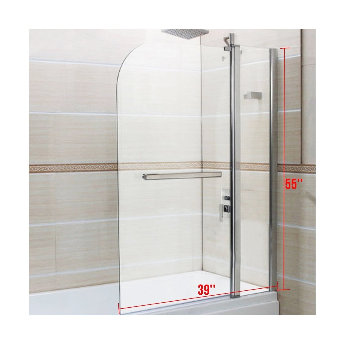 Clear glass 55 inch x39 inch pivot radius framed 14 inch bath tub shower door chrome finish by beautifulwoman