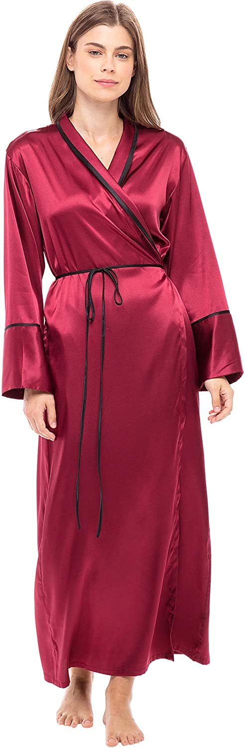 Vintage Nightgowns, Pajamas, Baby Dolls, Robes Alexaner Del Rossa Women's Long Satin Robe with Contrast Piping- Tie Belt Pockets Full Length $44.99 AT vintagedancer.com