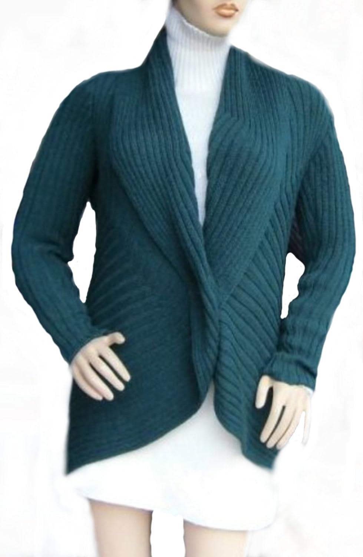 Alpacaandmore Lange dunkelgrüne offene Damen Jacke Strickjacke Schalkragen peruanische Alpakawolle