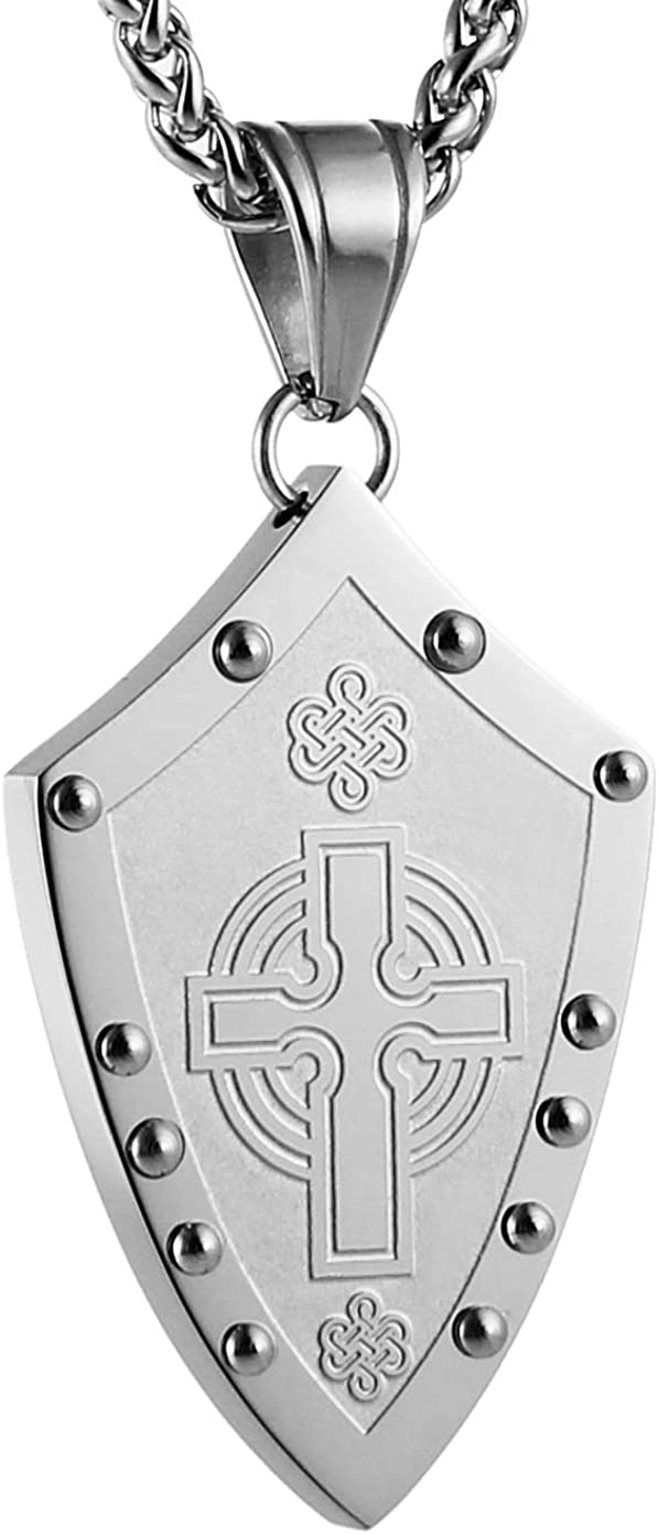 HZMAN Men's Warriors Medieval Shield Celtic Knot Irish Cross Stainless Steel Pendant Necklace Silver/Gold