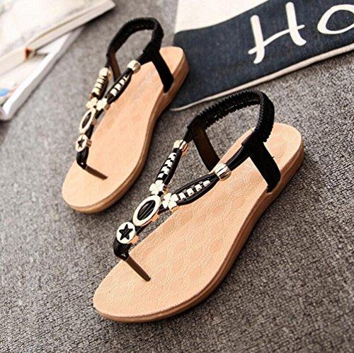 YOUJIA Mujeres Adornos de Metal Elegante T-Correa Bohemia Sandalias Verano Zapatos Planos #2 Negro