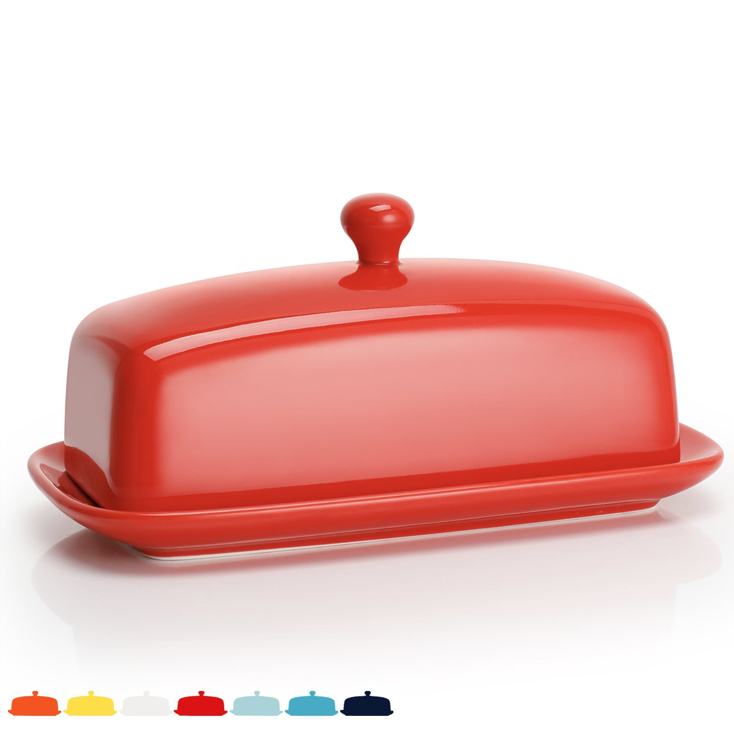Sweese 3172 Porcelain Butter Dish with Lid, Perfect for East/West Butter, Red