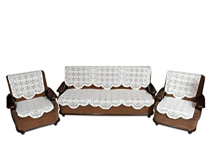 vivek homesaaz Polyester Embossed Printing 5 Seater Kniting Sofa Cover Set -10 Pieces