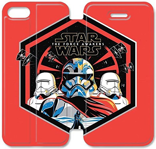 Coque iPhone 5C Coque Cuir, Klreng Walatina® 5C PU Cuir de portefeuille Coque Design By américaine Epic Film Star Wars The Force réveille U8Y3Mh