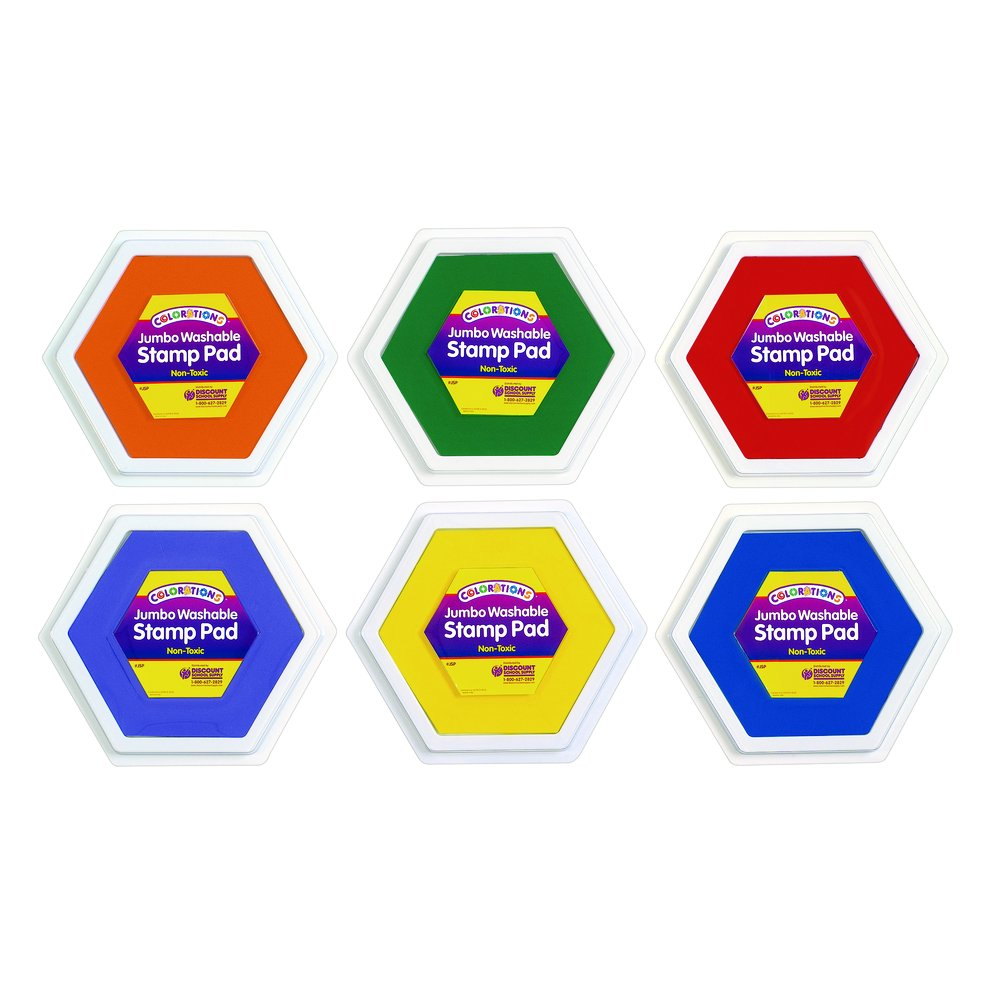 Colorations Classic Colors Jumbo Washable Stamp Pads - Set of 6 (Item # JSP)