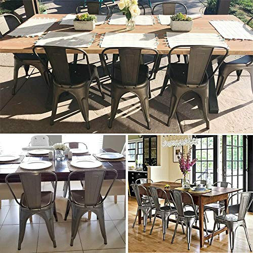 - ANA Store Classic Industrial-Style Iron Banquet Bench 4 Piece Metal Color Inner Outside Sturdy Construction High Backrest Dinner Footstool Overlap able Dining Side Chair 340lb Restaurant Gatherings