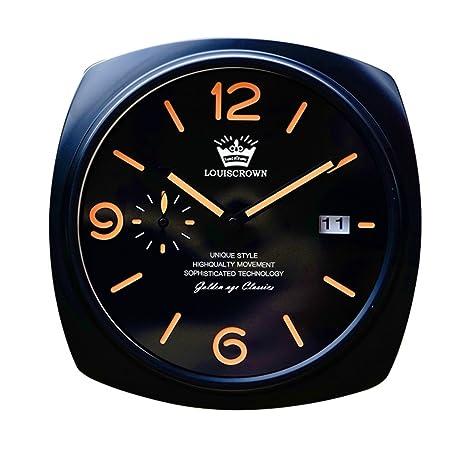 reloj de pared Decorativo clásico se Ilumina en la Oscuridad, silencioso, sin Tic-