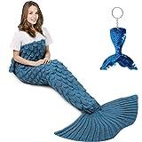 AmyHomie Mermaid Tail Blanket, Mermaid Blanket Adult Mermaid Tail Blanket, Crotchet Kids Mermaid Tail Blanket for Girls (Light-ScaleBlue, Adults)