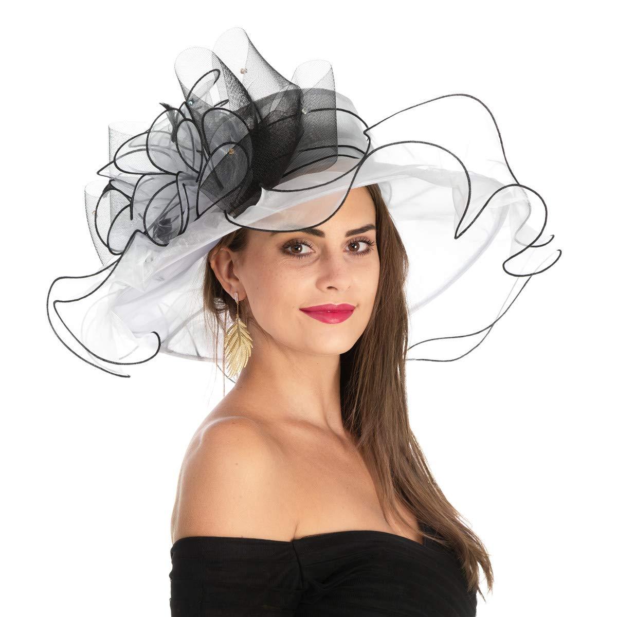 Women's Organza Church Kentucky Derby British Fascinator Bridal Tea Party Wedding Hat Summer Ruffles Cap(HL-White Black Line)