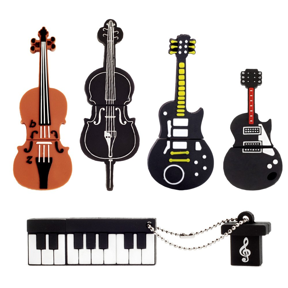 Set of 5 USB Flash Drives (8GB each) - Yellow Guitar, Red Guitar, Cello, Violin, Piano