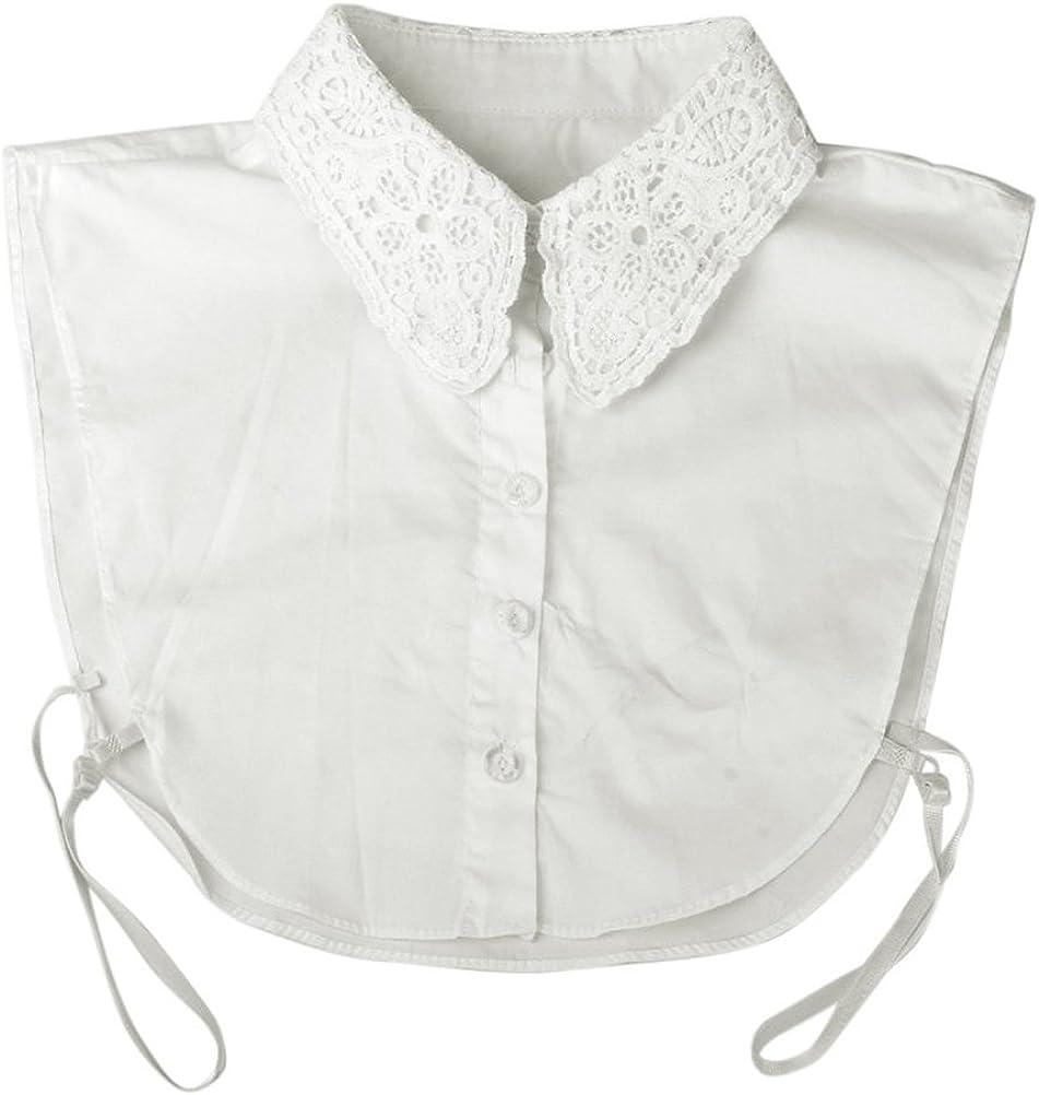 PIXNOR Las mujeres Floral escote cuello desmontable media camisa blusa (blanco): Amazon.es: Ropa y accesorios
