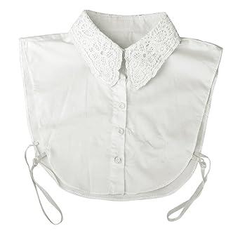 WINOMO Floral Dekolleté abnehmbare Kragen halbe Shirt Bluse Women(White) d7db003639