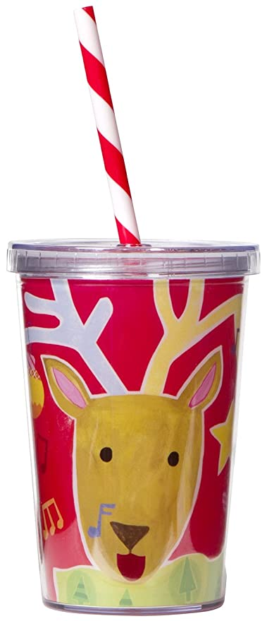 "C.R. Gibson 10oz Christmas Tumbler with Straw, By Gibby and Libby, Features Cheery Holiday Design, Measures 3.5"" x 4.75"" - Reindeer"