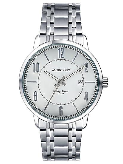 Amundsen Moda de acero inoxidable de cuarzo amantes de relojes de plata de los hombres casuales plata: Amazon.es: Relojes