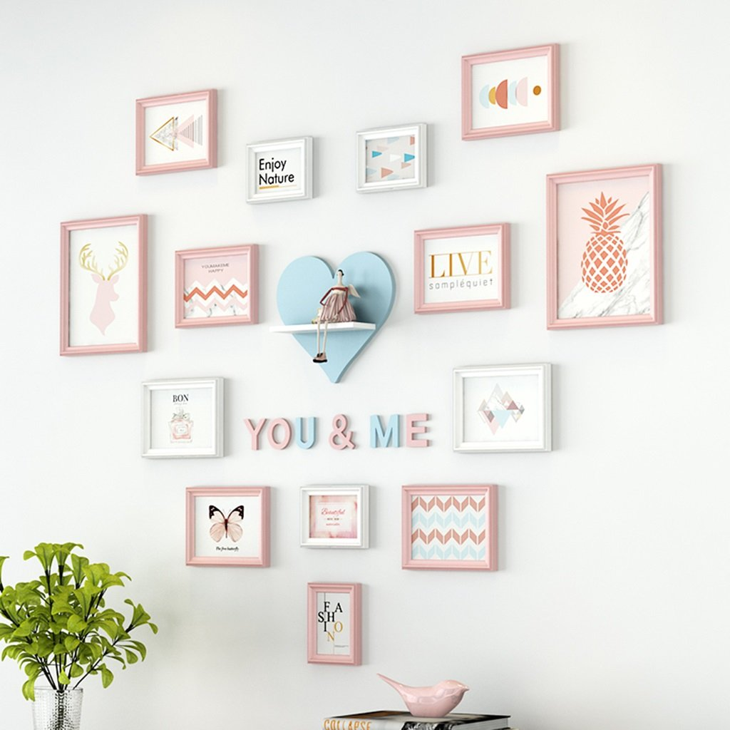 ZGP Home@Wall photo frame Photo Wall European-style Photo Frame Wall Bedroom Room Love Heart Wall Wall Nordic Creative Photo Wall (Color : A) by ZGP (Image #1)