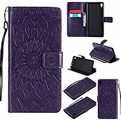 Xperia XA Ultra / C6 Case, Dfly-US Premium Soft PU Leather Embossed Mandala Design with Kickstand Function Card Slot Holder Slim Protective Flip Wallet Cover for Sony Xperia XA Ultra / C6, Purple