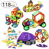 118 Pcs. Magnetic Building Blocks / Tiles Set for 3D Construction for Kids Age 3+. Educational Toy for girls and boys. Hours of Fun! Comes with Plastic Storage Box and Premium Backpack. By Frolk
