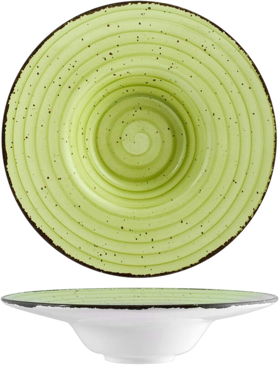 H&H 812293 Giotto - Plato de pasta, cerámica, verde, 24,5 cm ...