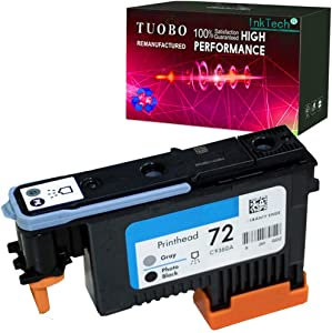 Tuobo H-P 72 Remanufactured printheads C9380A C9383A C9384A with Updated Chips Compatible with H-P Designjet T610 T620 T770 T790 T1100 T1120 1200 T1300 T2300 Printer (Photo BK/Gray)