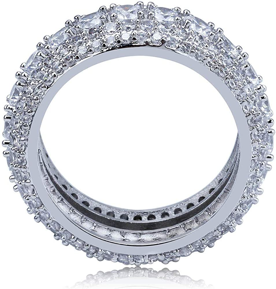 JAJAFOOK 10mm 5 Rows Round Cut 14K Gold and Silver Plated Iced Out CZ Lab Diamond Eternity Band Ring