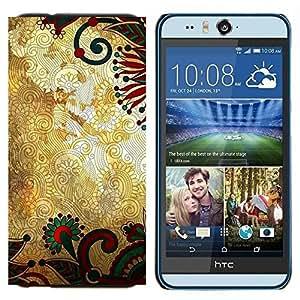 TECHCASE---Cubierta de la caja de protección para la piel dura ** HTC Desire Eye ( M910x ) ** --Diseño floral del oro rústico Wallpaper