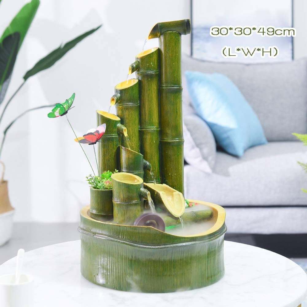 Resina Fuente De Agua De Bamb/ú Fuente De Agua Que Fluye Sala De Estar Muebles De Oficina En Casa Decoraci/ón Fuente Feng Shui,26cm