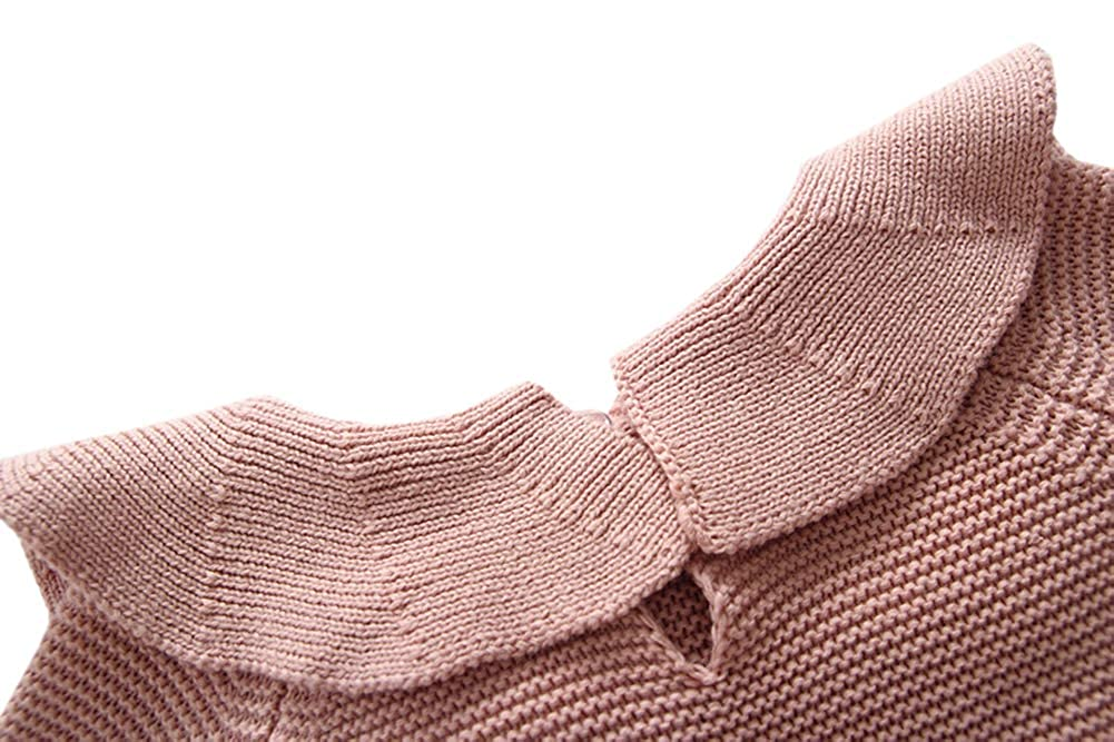 Hwafan Baby Girls Princess Long Sleeve Ruffle Collar Knitted Sweater Rompers Jumpsuit