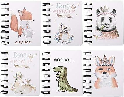 Yuccer Mini Cuaderno Bolsillo Libreta Notas Infantil Cute Notebook Cuaderno Pequeño Pack de 6 Libreta de Espiral (Marrón): Amazon.es: Oficina y papelería