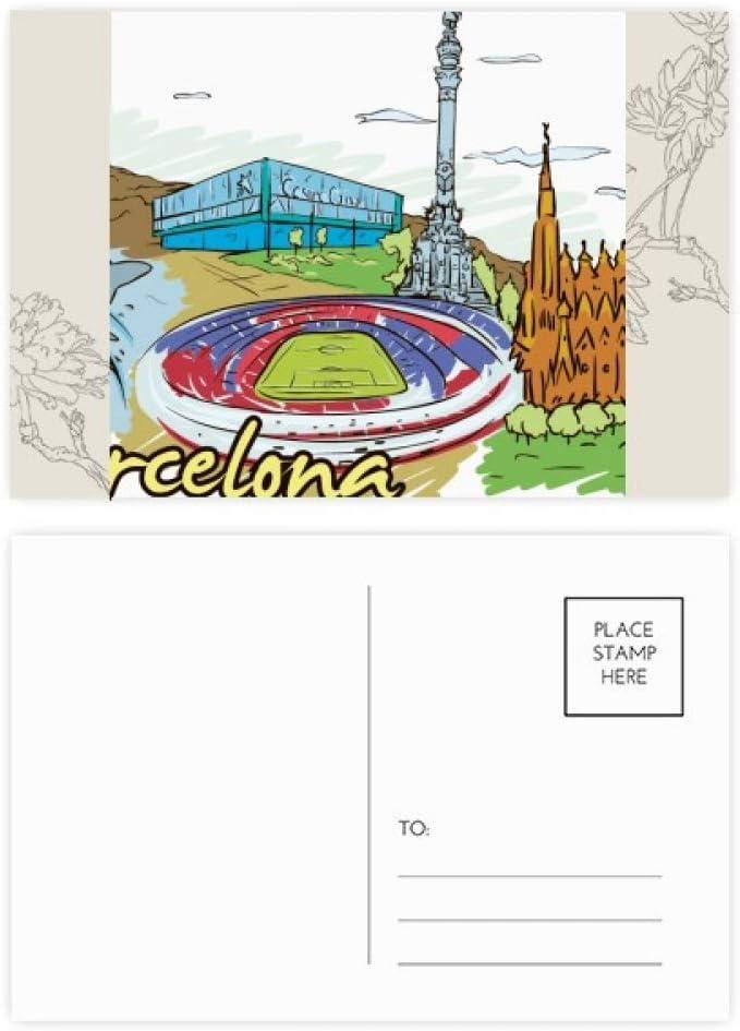DIYthinker Barcelona, España Monumento postal de flores de la acuarela Conjunto Gracias tarjeta de correo lateral 20Pcs 5,7 pulgadas x 3,8 pulgadas Multicolor: Amazon.es: Oficina y papelería