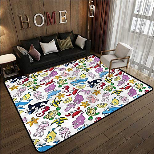 Bedroom Rug Kids Tropical Fishes Sea Turtle Ideal Gift for Children 4'7