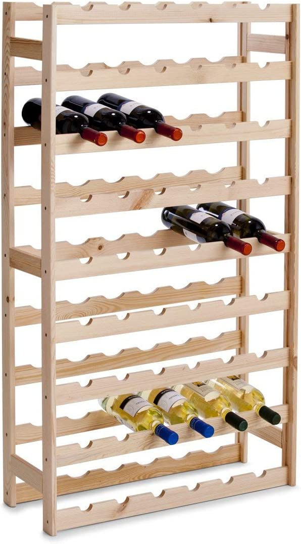 Zeller 13165 Botellero para 54 Botellas, Pino, Marrón, 67.5x25x118 cm, madera