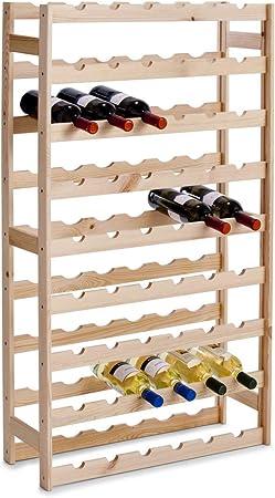 Botellero para 54 botellas,Acabado natural en pino,Montaje fácil y rápido