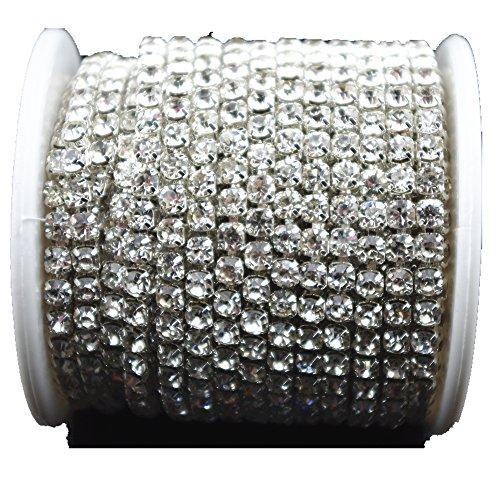10 Yard 3.5mm Crystal Rhinestone Close Chain Clear Trim Sewing Craft Silver Color