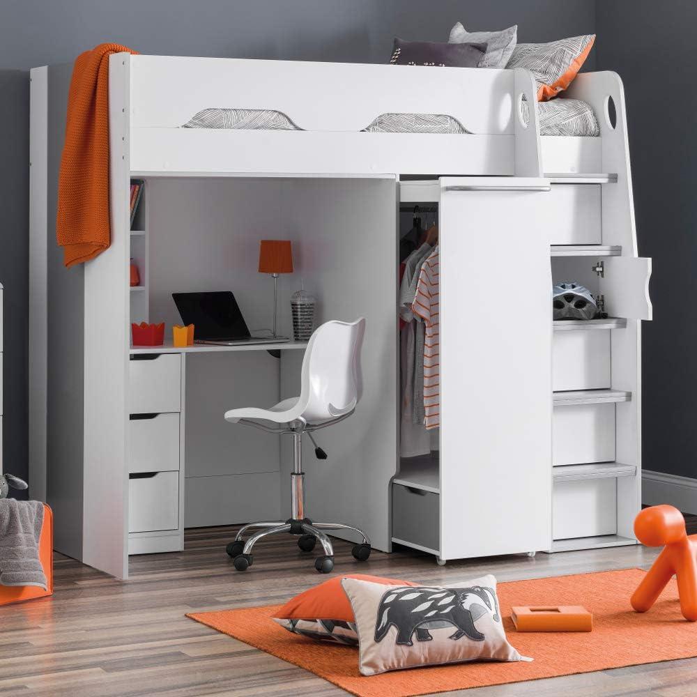 High Sleeper Storage Bed Happy Beds Pegasus Wood Modern Desk Wardrobe Drawers Cupboards Loft Bunk 3ft Single 90 X 190 Cm Frame Only Amazon Co Uk Kitchen Home