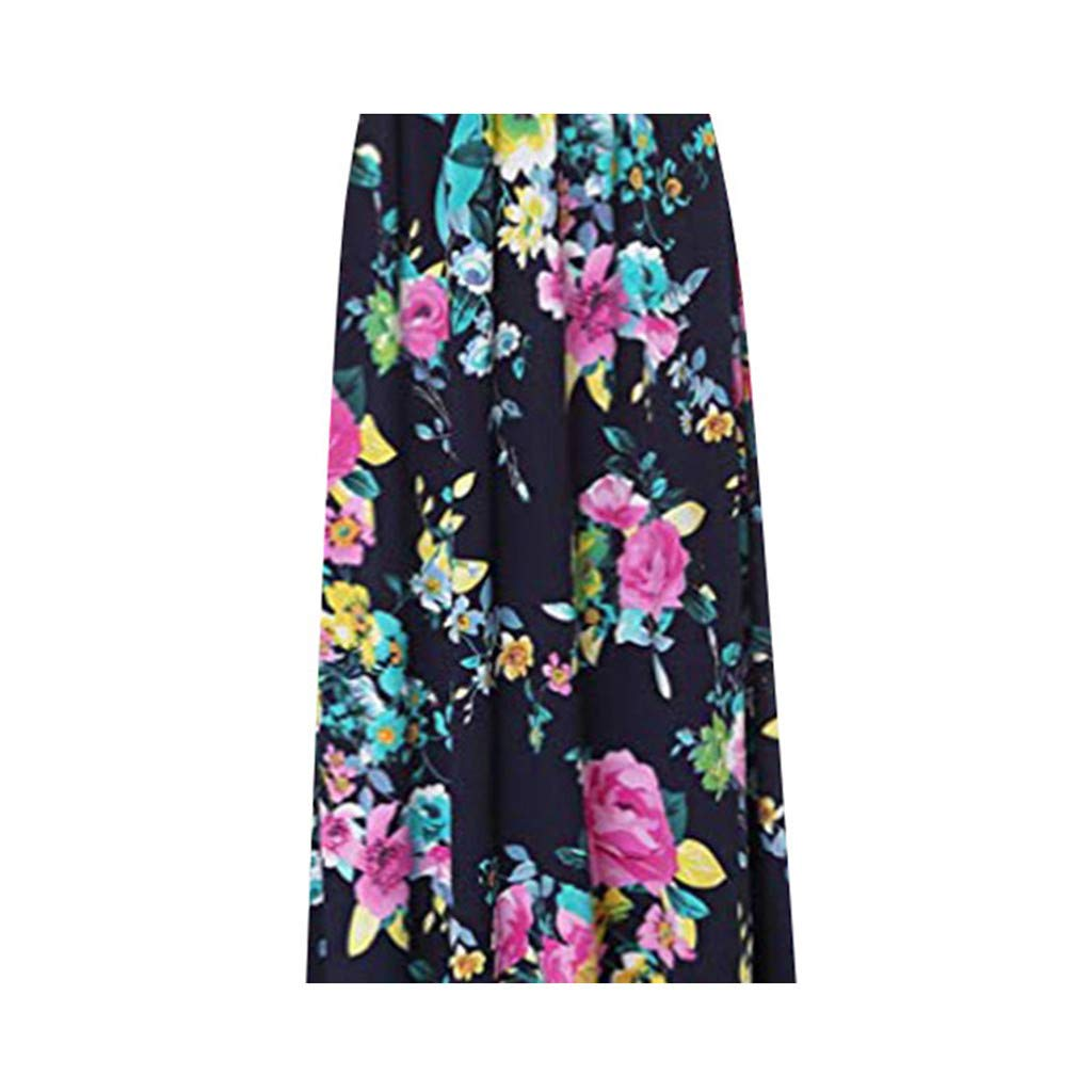 YFancy Womens Plus Size Dresses Comfy Loose Short Sleeve Casual Dress Bohemian Print O-Neck Summer Beach Long Maxi Dress