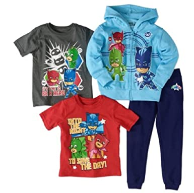 Frog Box PJ Masks Toddler Boy Hoodie, T-Shirts, and Jogger Pants 4Pc