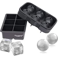 Ticent & Co Silicone Ice Cube Trays (Set of 2), Sphere Ice Ball Maker with Lid & Large Square Moulds, Reusable & BPA Free