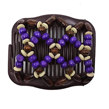 Magic Wooden Beaded Stretchy Double Clips Hair Slide Comb Ladies African Hairpin