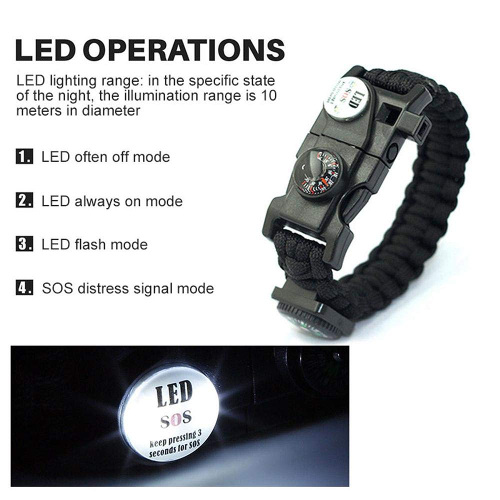 Amazon.com: Paracord Bracelets Survival Gear 21 in 1 First Aid Multi-Tools, with Knife, SOS LED Light, Fire Starter, Rescue Rope and Whistle for Men Women ...