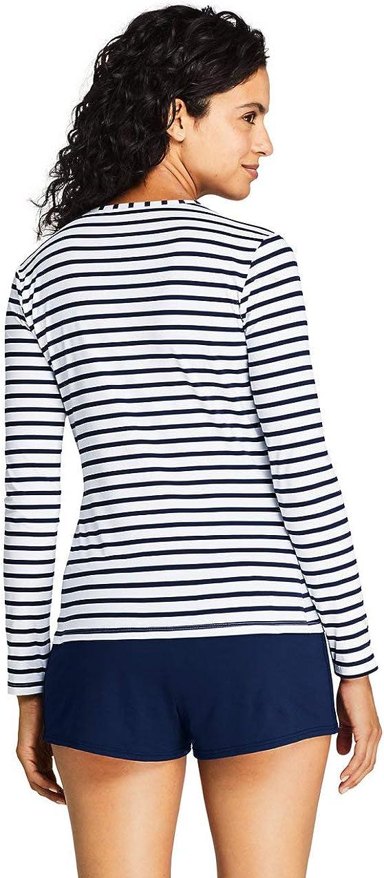 Lands End Womens Long Sleeve Swim Tee Rash Guard Stripe