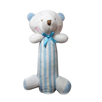 Yeahibaby Sonajero para bebés Peluches felpa recién nacidos regalo Cuna Toy Stick Bear (azul)