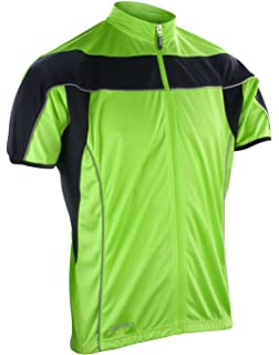 feffec279 Mens Full Zip Hi Viz Vis High Visibility Fluorescent Cycling Top Jersey