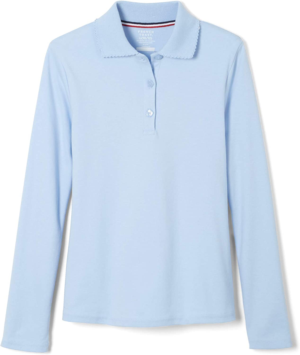 French Toast Girls Long Sleeve Interlock Polo with Picot Collar