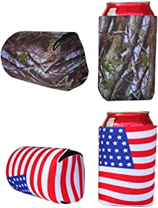 E-Living 330ML (12 OZ) Collapsible Neoprene Can/Beer/Bottle/Beverage Cooler/Coolie/Cover/Insulator/Holder/Huggie/Sleeve for Cola/Beer/Soda - 4 Pack (Camo+USA)