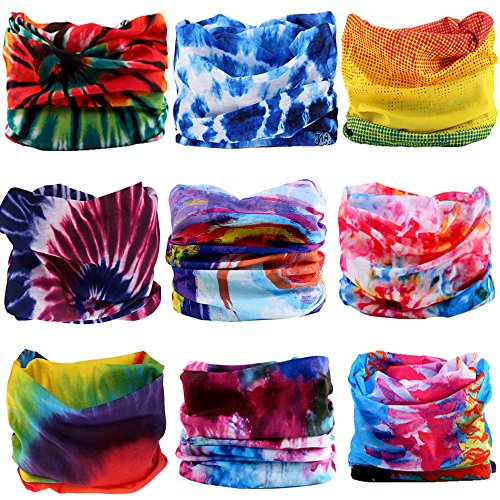 KALILY 9PCS Headband Bandana - Versatile TIE DYE Sports & Casual Headwear –Multifunctional Neck Gaiter, Headwrap, Balaclava, Helmet Liner, Face Mask for Camping, Running, Cycling, Fishing etc
